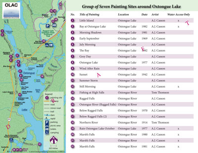 Painting Locations of Group of Seven and Tom Thomson on Oxtongue