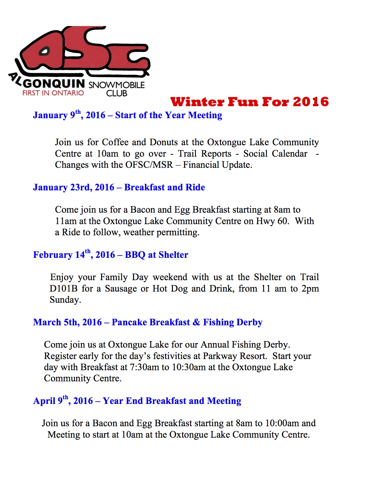 Algonquin Snowmobile Club Calendar